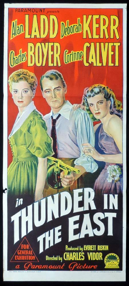 THUNDER IN THE EAST Original Daybill Movie Poster ALAN LADD Deborah Kerr Charles Boyer Richardson Studio