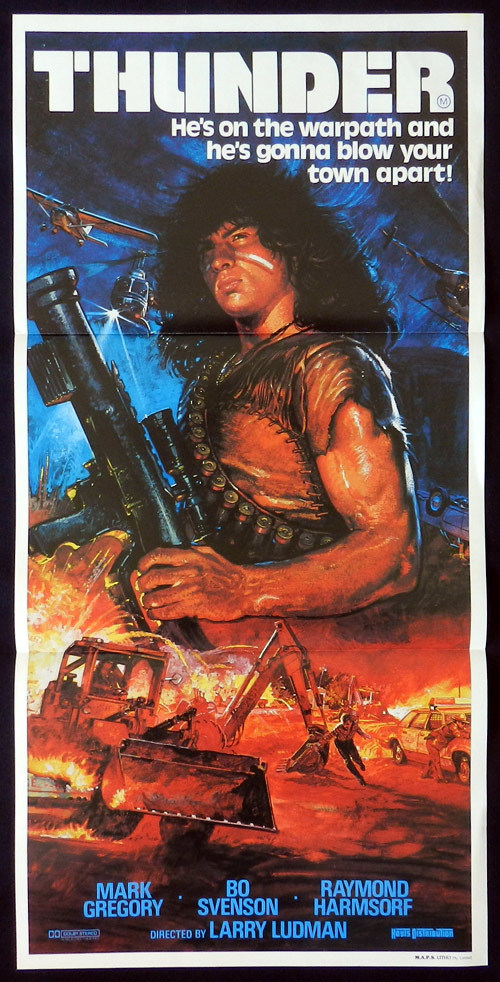 THUNDER Original Daybill Movie poster Bo Svenson Mark Gregory Raimund Harmstorf