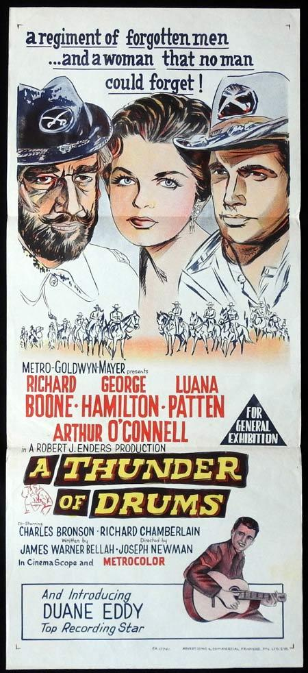 A THUNDER OF DRUMS Original Daybill Movie Poster Richard Boone George Hamilton Luana Patten