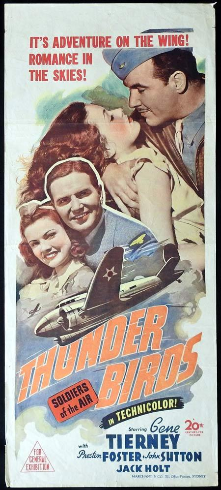 THUNDER BIRDS Original daybill Movie Poster Gene Tierney Preston Foster Thunderbirds