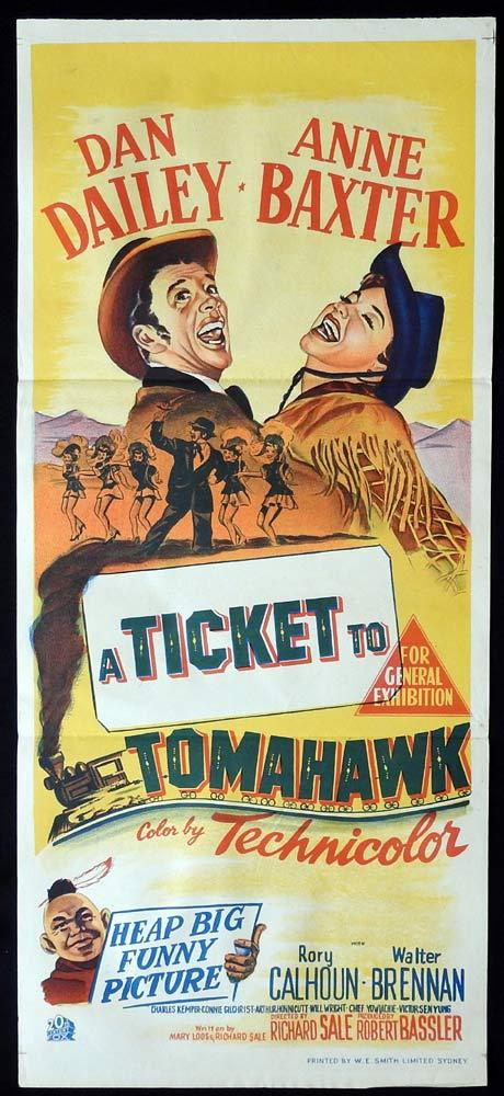 TICKET TO TOMAHAWK Daybill Movie poster Dan Dailey Marilyn Monroe
