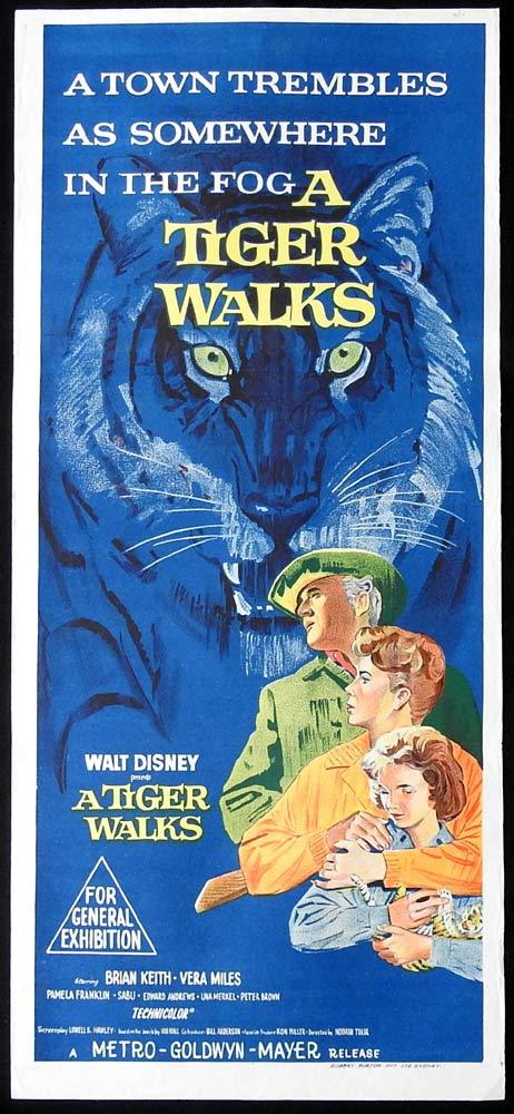 A TIGER WALKS Original Daybill Movie Poster Brian Keith Circus Vera Miles