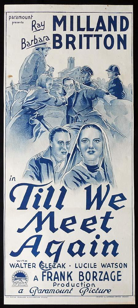 TILL WE MEET AGAIN Original Daybill Movie poster Ray Milland Barbara Britton 1940s