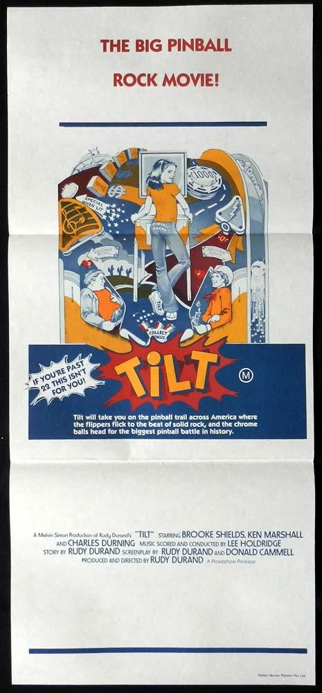 TILT Brooke Shields PINBALL MACHINES VINTAGE Australian daybill Movie poster