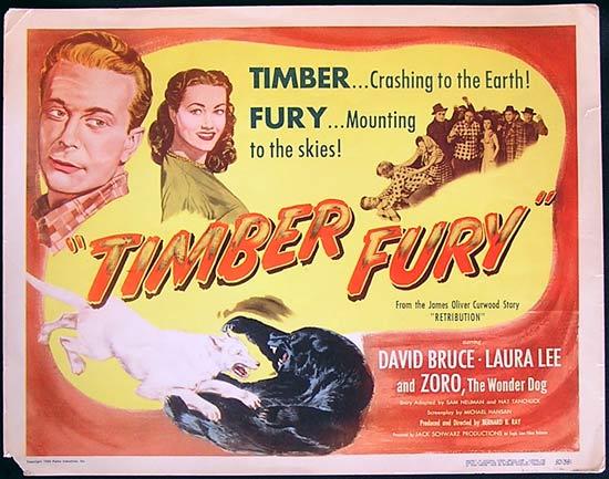 TIMBER FURY Title Lobby Card David Bruce Laura Lee