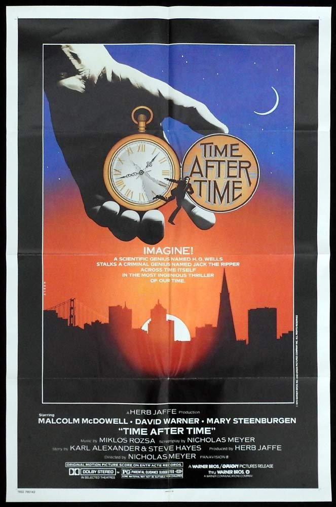 TIME AFTER TIME Original One sheet Movie poster Malcolm McDowell