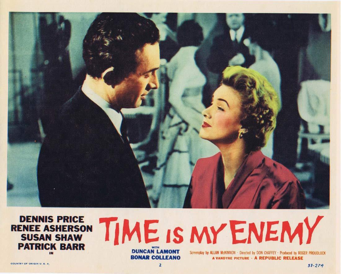TIME IS MY ENEMY Original Lobby card 2 Dennis Price Film Noir