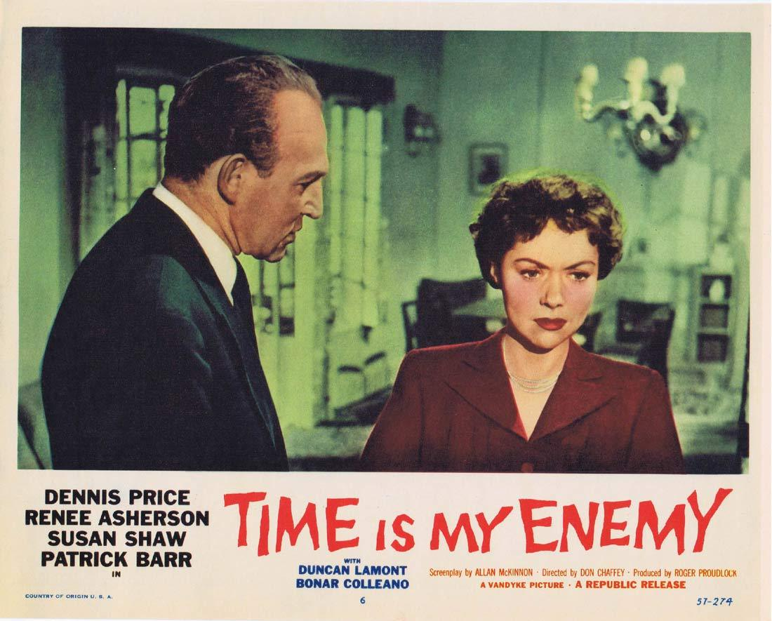 TIME IS MY ENEMY Original Lobby card 6 Dennis Price Film Noir