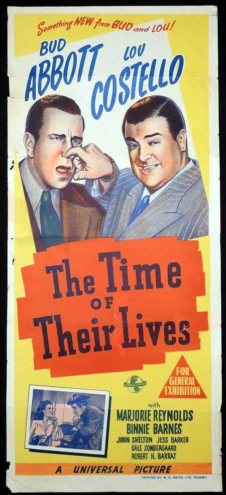 THE TIME OF THEIR LIVES Original daybill Movie Poster Abbott and Costello