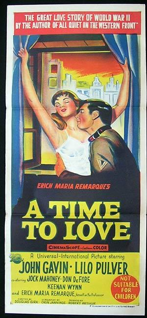 "A TIME TO LOVE Movie poster John Gavin Lilo Pulver ""A"""