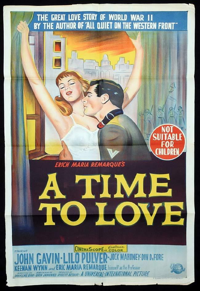 A TIME TO LOVE Original One sheet Movie poster Douglas Sirk John Gavin