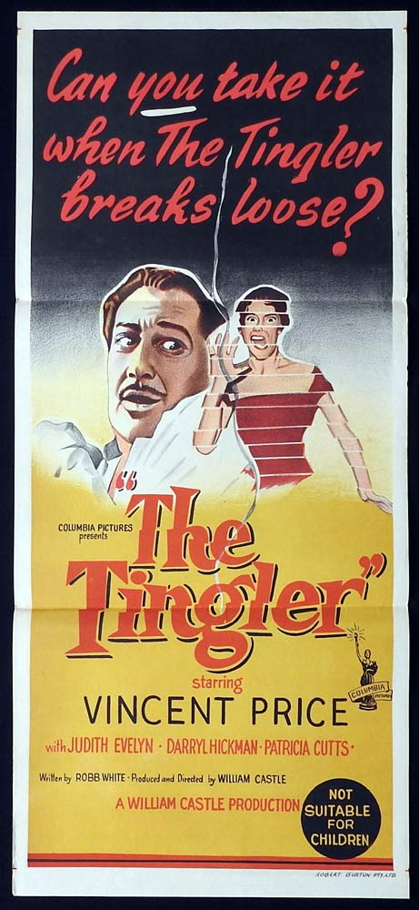 THE TINGLER Original Daybill Movie Poster Vincent Price