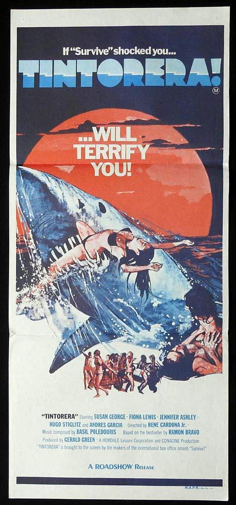 TINTORERA Original Daybill Movie Poster Shark Attack