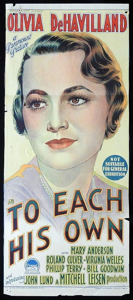 TO EACH HIS OWN Original Daybill Movie Poster Olivia DeHavilland Richardson Studio