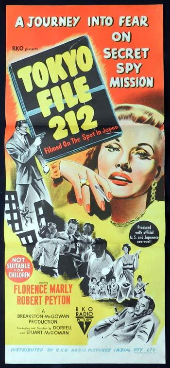 TOKYO FILE 212 1951 RKO Film Noir RARE Daybill Movie poster