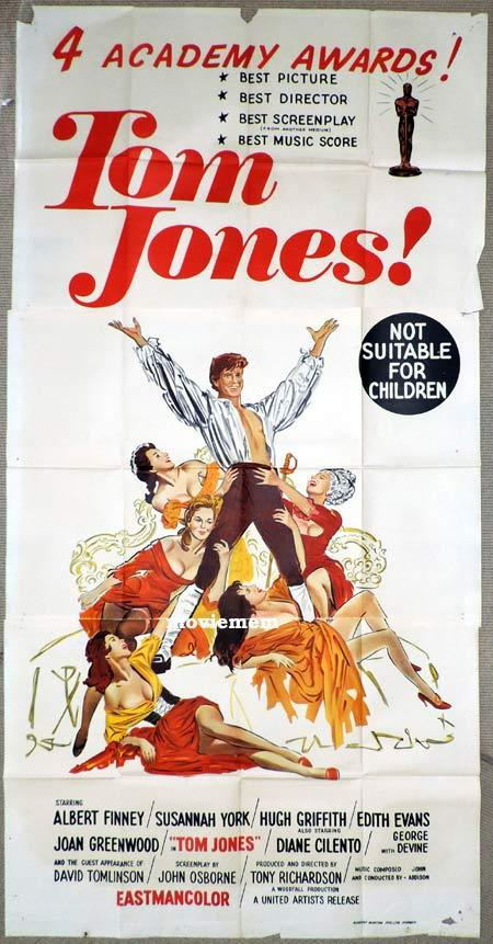 TOM JONES Original 3 Sheet Movie Poster Albert Finney