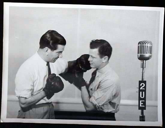 TOMMY BURNS c.1940s Rare BOXING Still BW photo 10 2UE Radio Studios Sydney