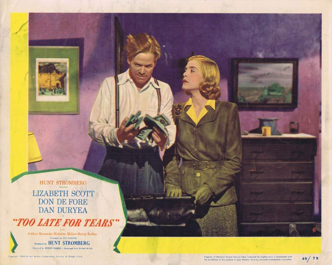 TOO LATE FOR TEARS Lobby Card 6 Lizabeth Scott Don DeFore Dan Duryea Arthur FILM NOIR CLassic