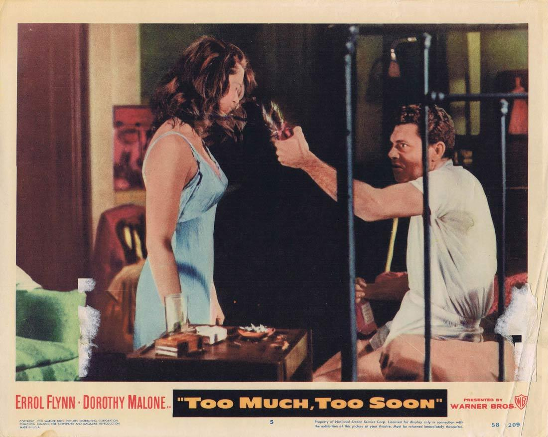TOO MUCH TOO SOON Lobby Card 5 Dorothy Malone Errol Flynn