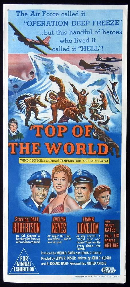 TOP OF THE WORLD Original Daybill Movie Poster Dale Robertson Evelyn Keyes
