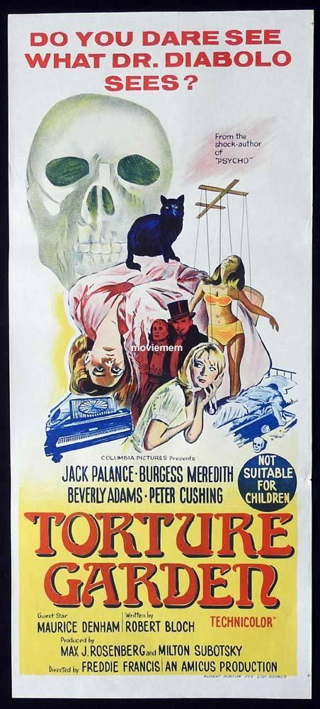 TORTURE GARDEN Original Daybill Movie poster Peter Cushing Jack Palance Horror