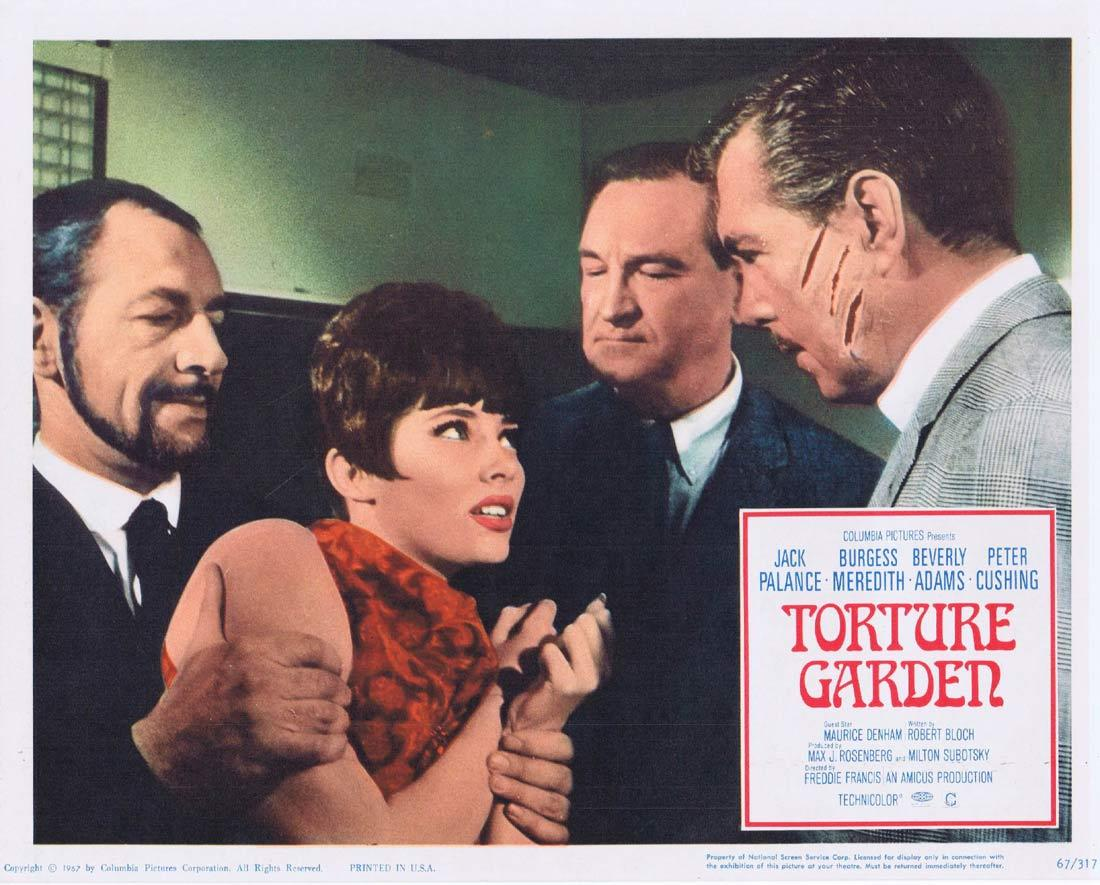 TORTURE GARDEN Lobby Card 2 Jack Palance Burgess Meredith Beverly Adams