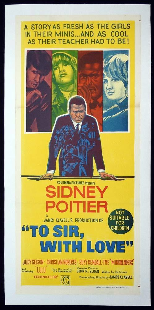 TO SIR WITH LOVE Original LINEN BACKED Daybill Movie Poster Sidney Poitier