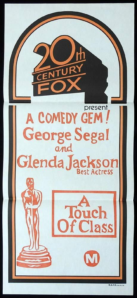 A TOUCH OF CLASS 70s stock Daybill Movie Poster George Segal Glenda Jackson