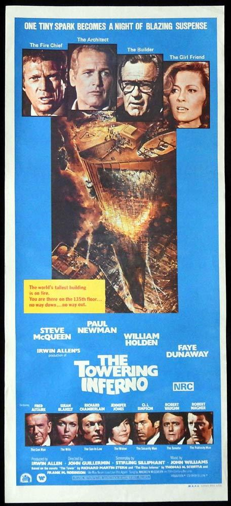 THE TOWERING INFERNO Original Daybill Movie poster Steve McQueen William Holden