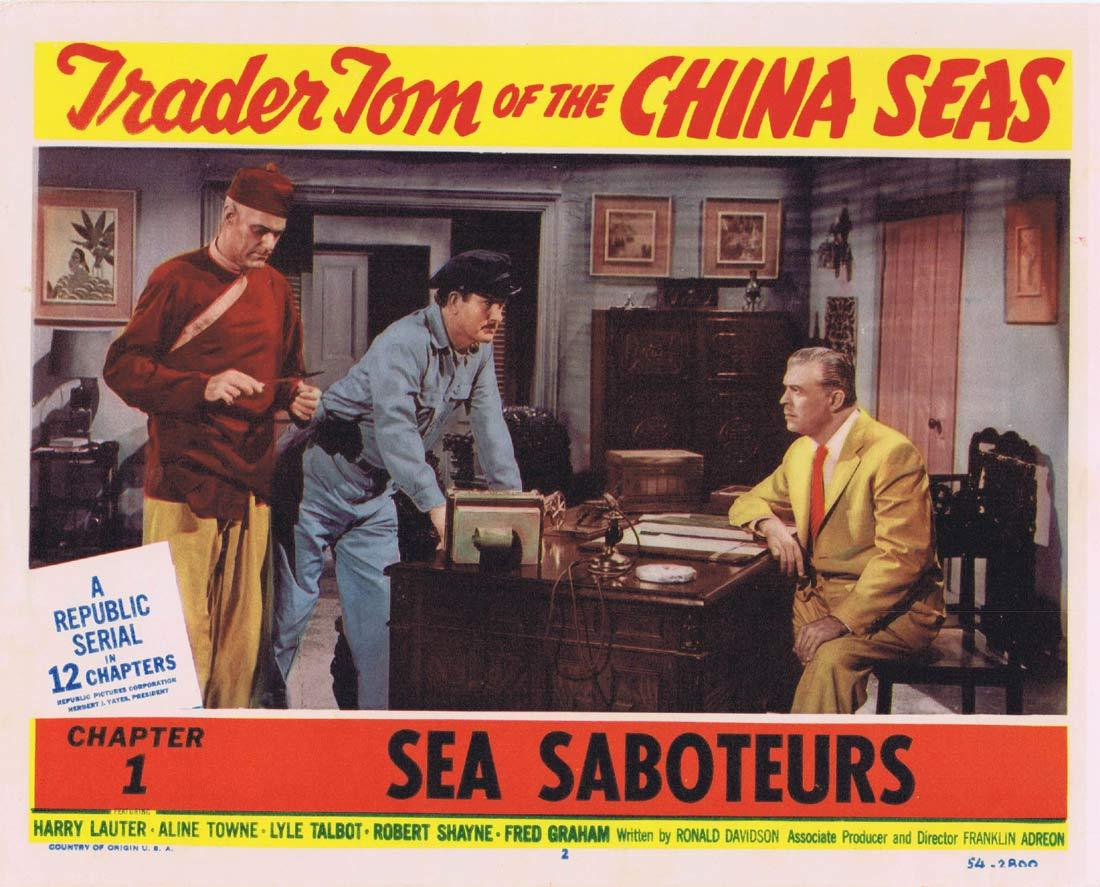 TRADER TOM OF THE CHINA SEAS Original Lobby Card 2 Republic Serial Chapt 1 Harry Lauter Aline Towne