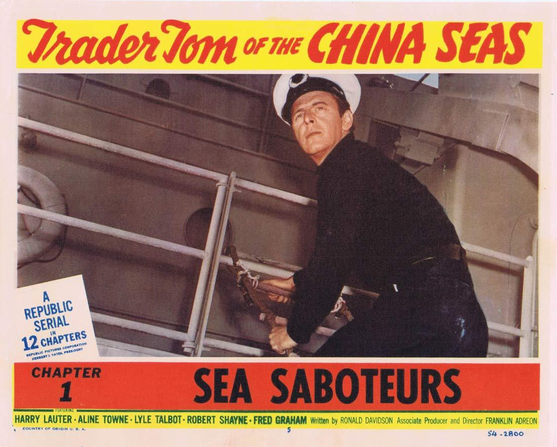 TRADER TOM OF THE CHINA SEAS Original Lobby Card 5 Republic Serial Chapt 1 Harry Lauter Aline Towne