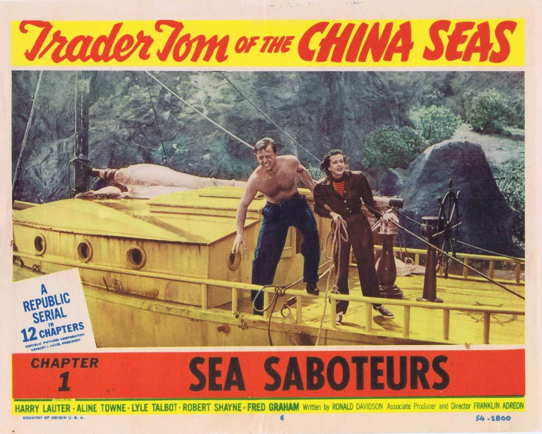 TRADER TOM OF THE CHINA SEAS Original Lobby Card 6 Republic Serial Chapt 1 Harry Lauter Aline Towne