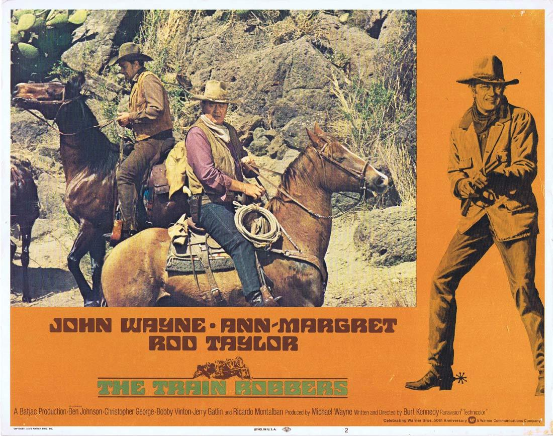 THE TRAIN ROBBERS Original Lobby Card 2 John Wayne Ann-Margret