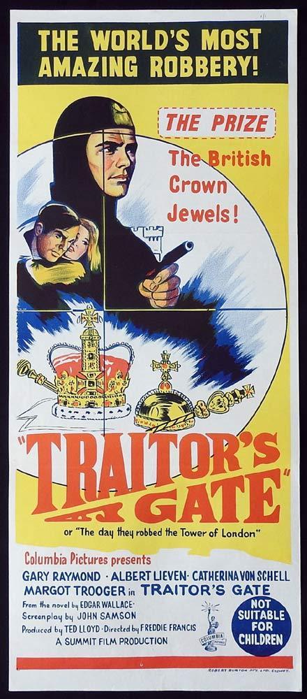 TRAITOR'S GATE Original Daybill Movie Poster Crown Jewels Edgar Wallace