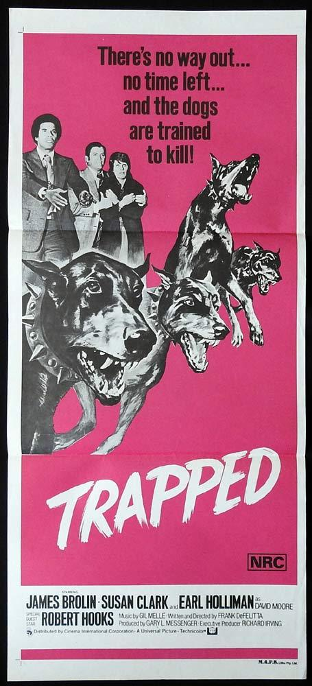 TRAPPED Original Daybill Movie poster DOBERMAN art James Brolin