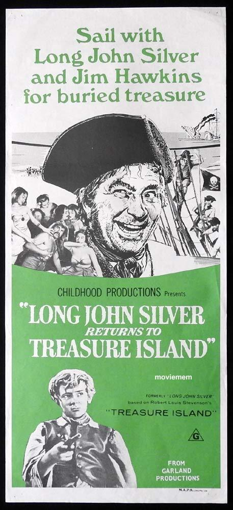 LONG JOHN SILVER RETURNS TO TREASURE ISLAND Original Daybill Movie Poster 70s Garland Productions