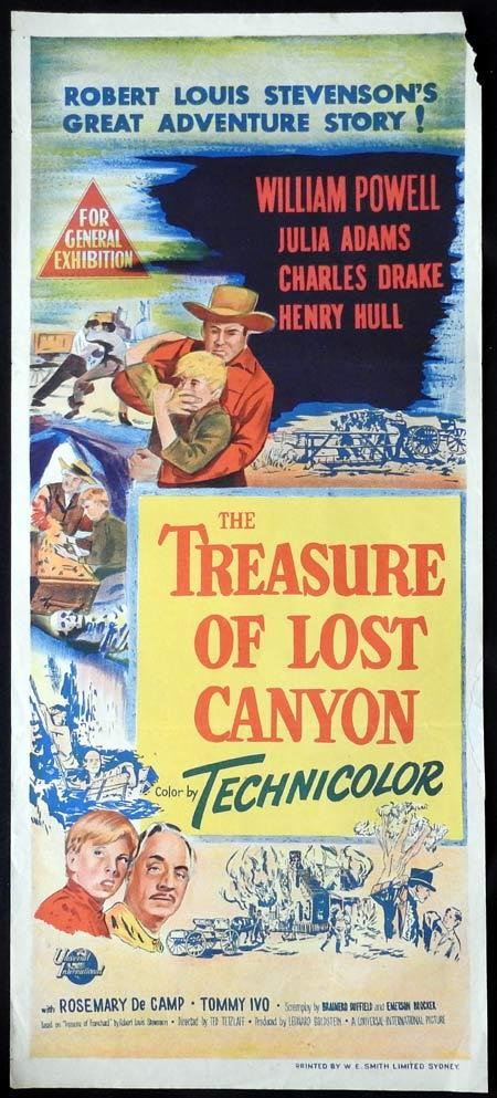 THE TREASURE OF LOST CANYON Original daybill Movie Poster William Powell Julia Adams Charles Drake