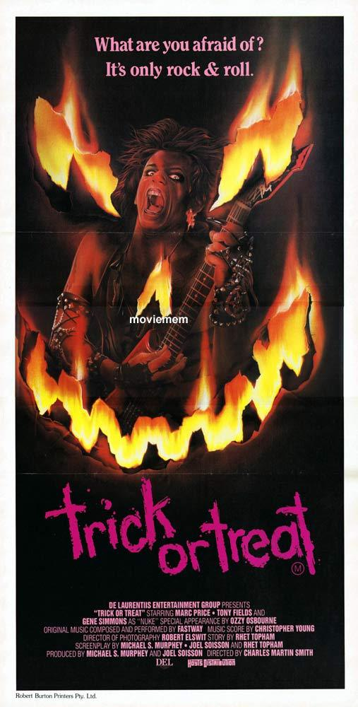TRICK OR TREAT Daybill Movie Poster Ozzy Osbourne Gene Simmons