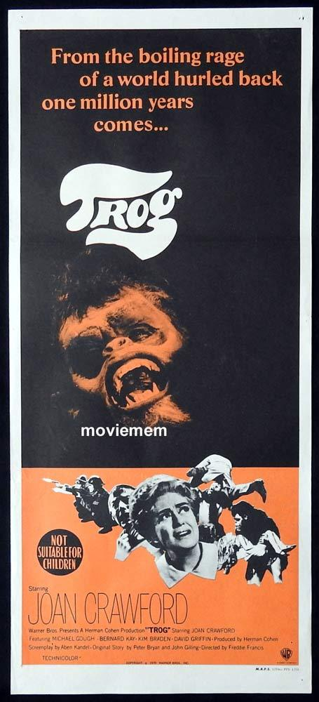 TROG Original daybill Movie poster JOAN CRAWFORD Sci Fi Michael Gough Kim Braden