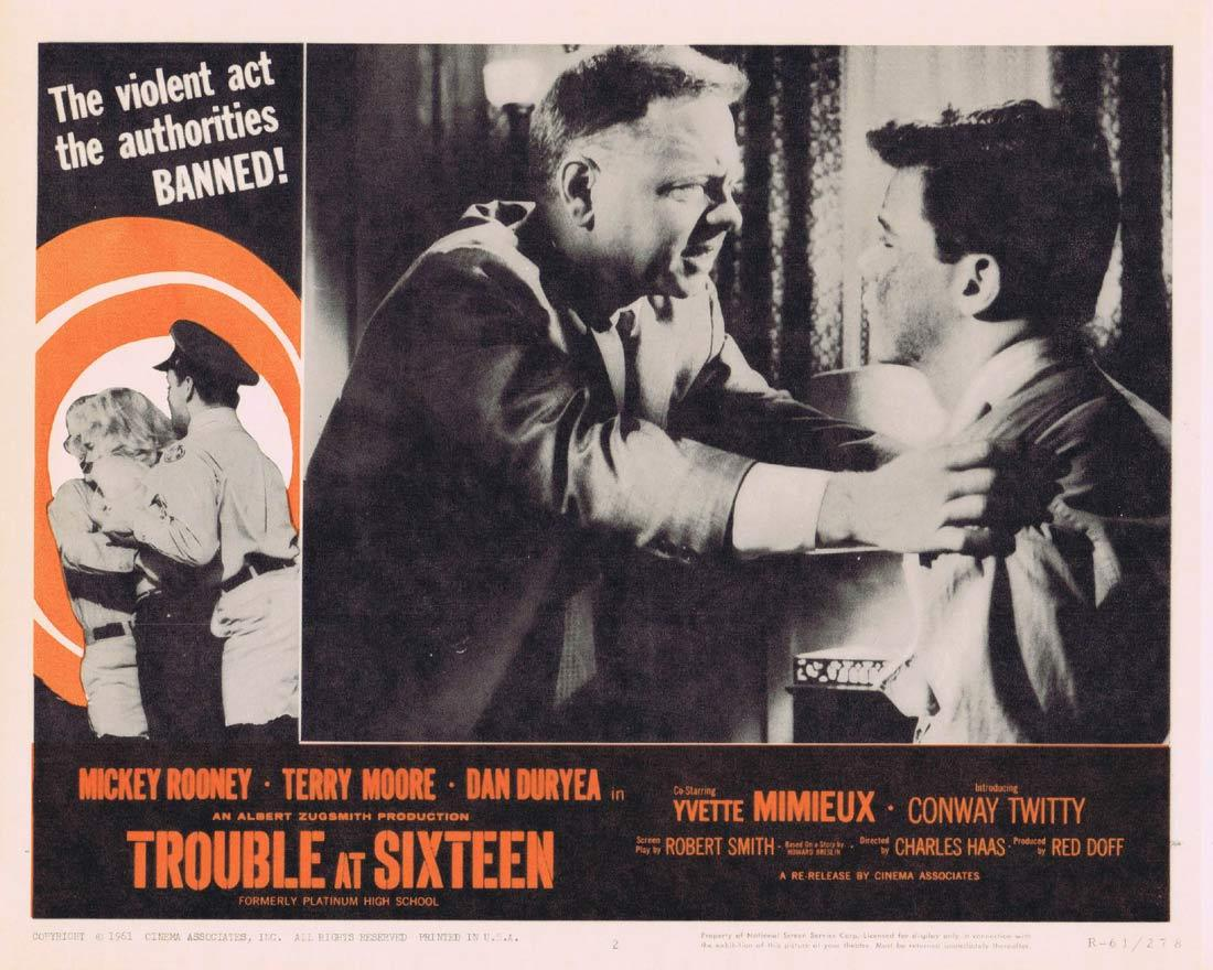 TROUBLE AT SIXTEEN Lobby Card 2 Mickey Rooney Terry Moore Yvette Mimieux 1961r