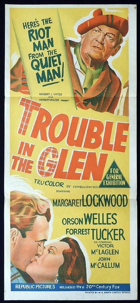 TROUBLE IN THE GLEN Original Daybill Movie Poster Margaret Lockwood Orson Welles