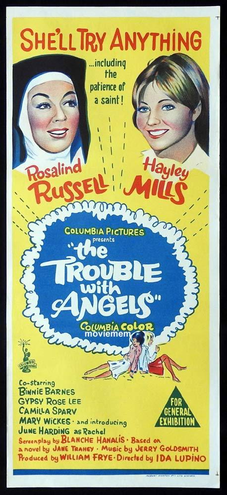 THE TROUBLE WITH ANGELS Original Daybill Movie Poster Rosalind Russell Hayley Mills