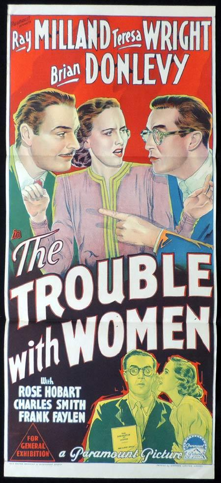 THE TROUBLE WITH WOMEN Original Daybill Movie Poster RAY MILLAND Teresa Wright Brian Donlevy Richardson Studio
