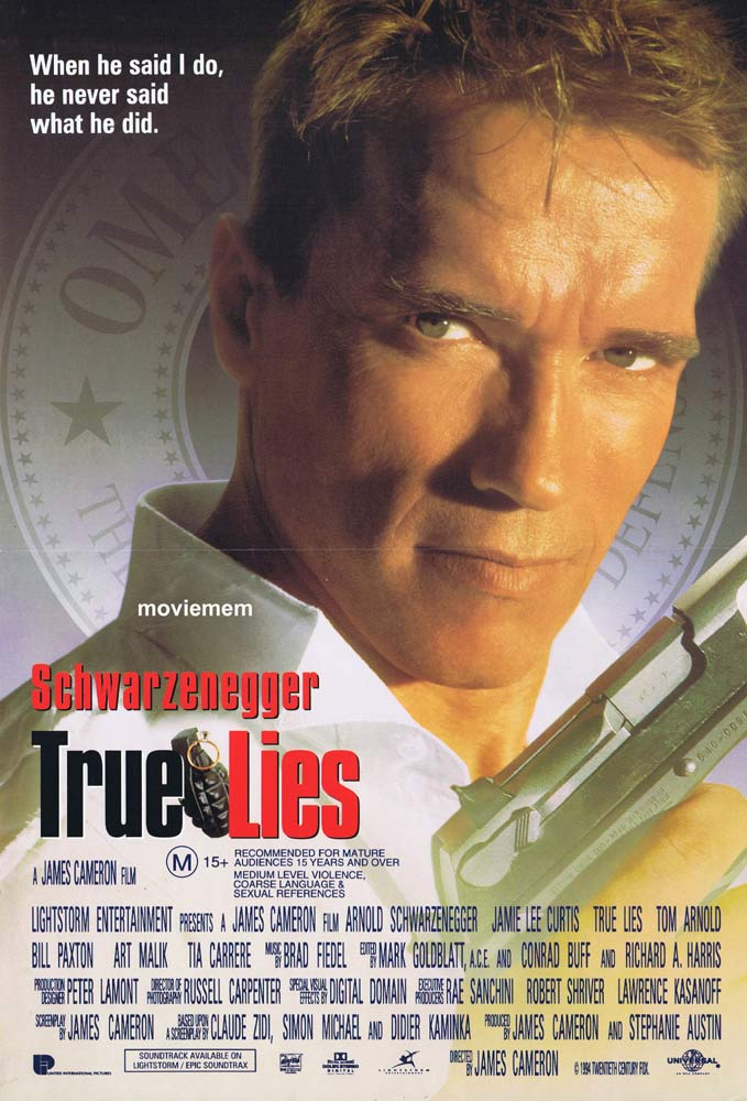 TRUE LIES Original Daybill Movie Poster Arnold Schwarzenegger Jamie Lee Curtis