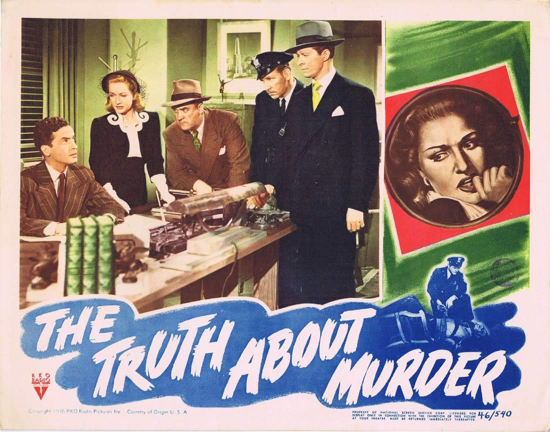 THE TRUTH ABOUT MURDER Lobby Card 3 RKO Film Noir Bonita Granville Morgan Conway