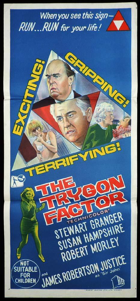 THE TRYGON FACTOR Original Daybill Movie Poster Stewart Granger Susan Hampshire