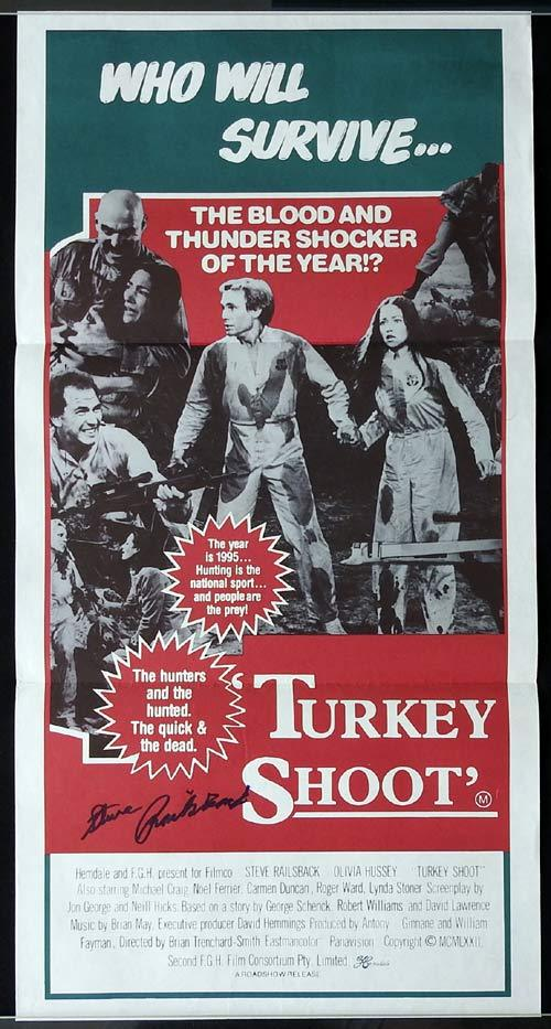 TURKEY SHOOT Original Daybill Movie poster AUTOGRAPHED by STEVE RAILSBACK