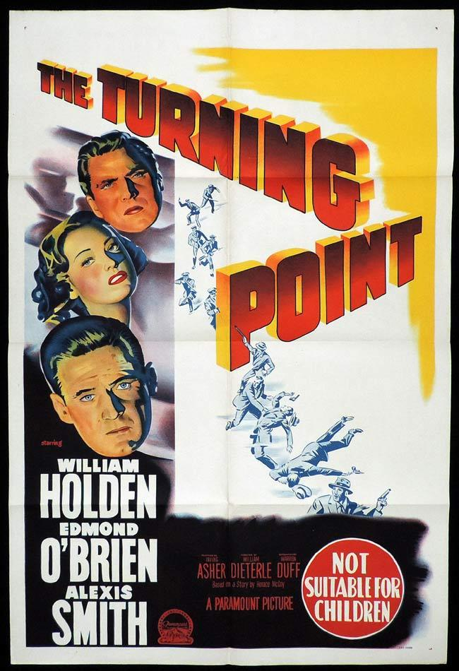 THE TURNING POINT Original One sheet Movie Poster William Holden Alexis Smith Edmond O'Brien