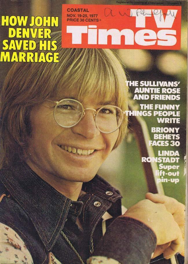 TV TIMES MAGAZINE Nov 19 1977 John Denver Linda Ronstadt centrefold