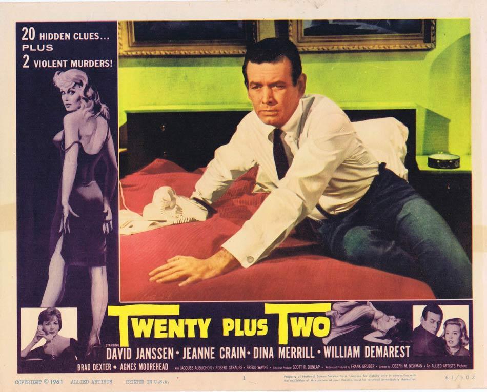 TWENTY PLUS TWO Lobby Card 1 David Janssen Bad Girl Film Noir